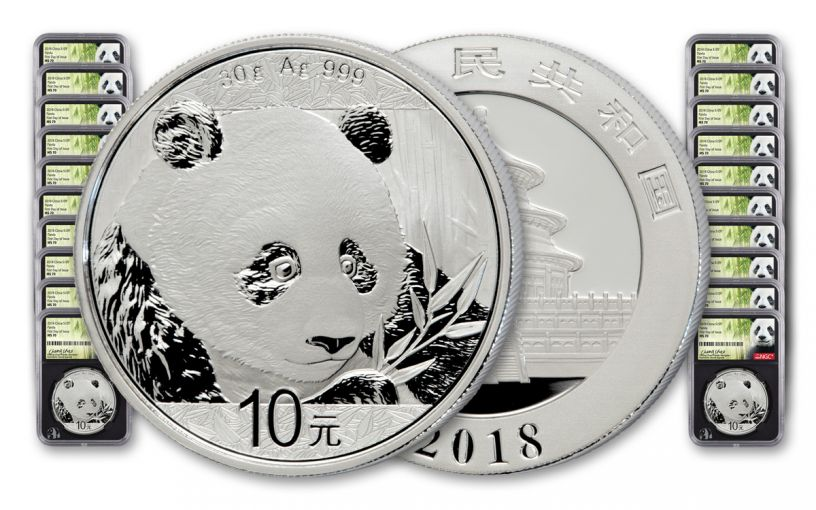 2018 China 30 Gram Silver Panda NGC MS70 First Day Of Issue Chao Signed 20-pk - Black