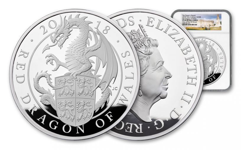 2018 Great Britain £500 Kilo Silver Queen's Beasts Red Dragon of Wales NGC PF69UC First Struck