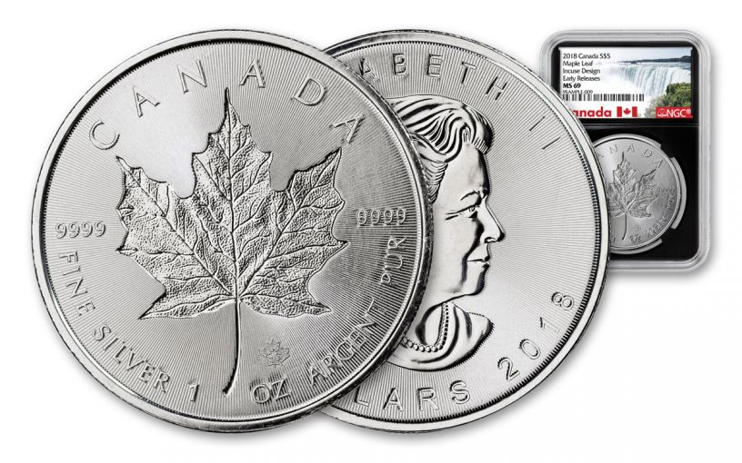 2018 Canada 1 Ounce $5 Silver Incuse Maple Leaf NGC MS69 Early Releases - Black Core