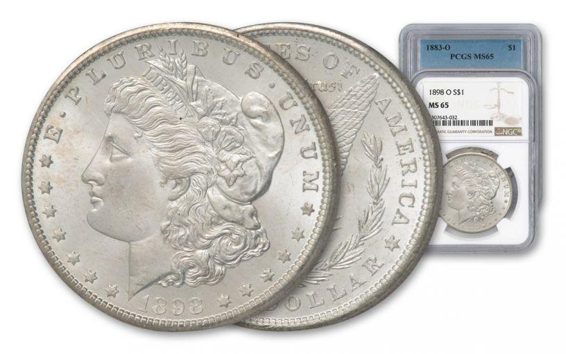 1883-1902-O Morgan Silver Dollar NGC/PCGS MS65 7pc