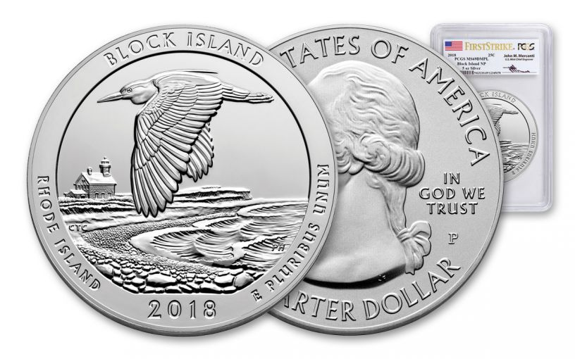 2018-P Block Island National Wildlife Refuge 5-oz Silver Quarter America the Beautiful PCGS MS69 DMPL First Strike - Mercanti Signed Label