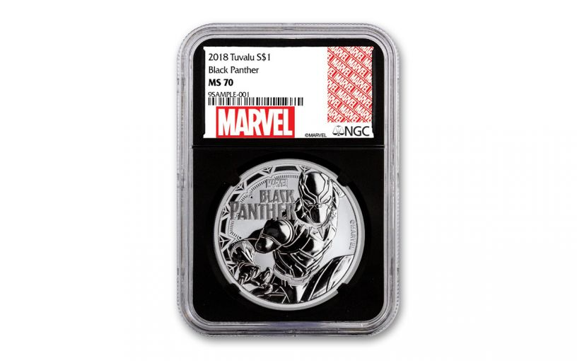 2018 Tuvalu $1 1-oz Silver Black Panther NGC MS70 w/Black Core