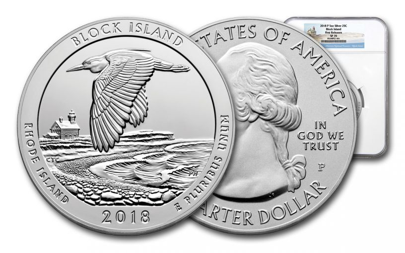 2018-P Block Island National Wildlife Refuge 5-oz Silver Quarter America the Beautiful NGC SP70 First Releases