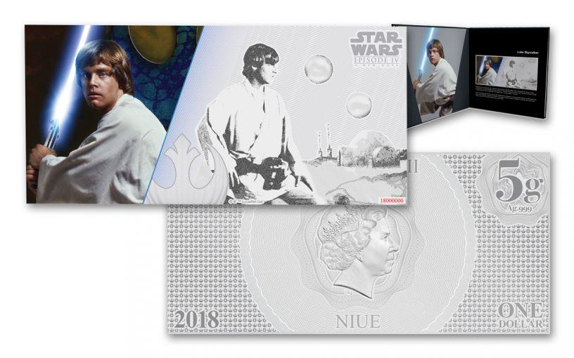 2018 Niue 1 dollar 5 Gram Silver Foil Star Wars Luke Skywalker Colorized Proof-Like Note with Collectors Book