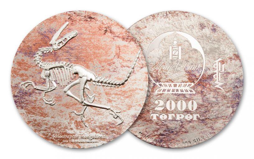 2018 Mongolia Velociraptor Colorized 3-oz Silver Proof-Like Coin
