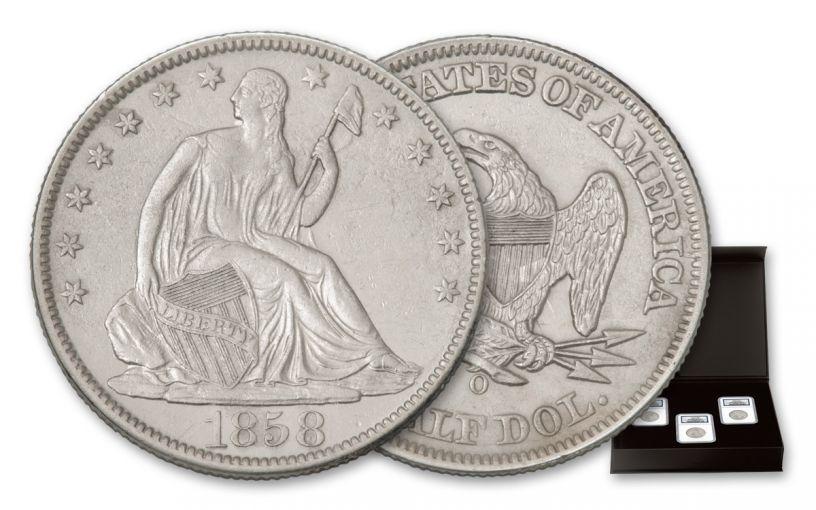 1858-1860-O SS Republic Seated Liberty Half Dollar 3pc Set