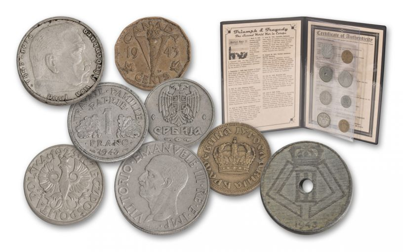 World War II Triumph & Tragedy European 8-Coin Collection w/ Folder