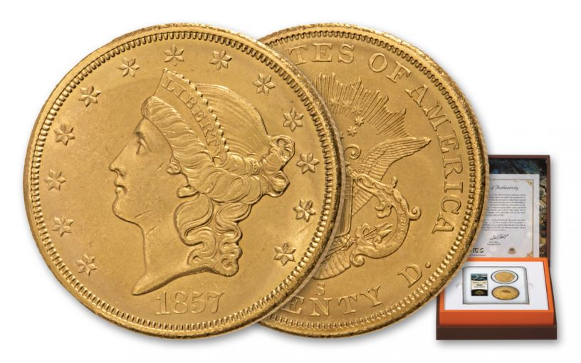 1857-S $20 Gold Liberty SS Central America PCGS MS63