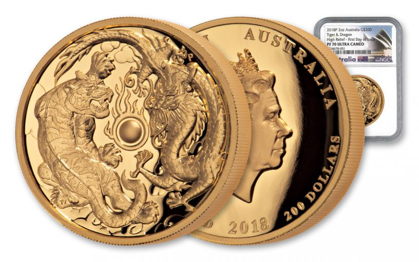 2018 Australia $200 2-oz Gold Tiger & Dragon High Relief NGC PF70UC First Day of Issue w/Opera House Label