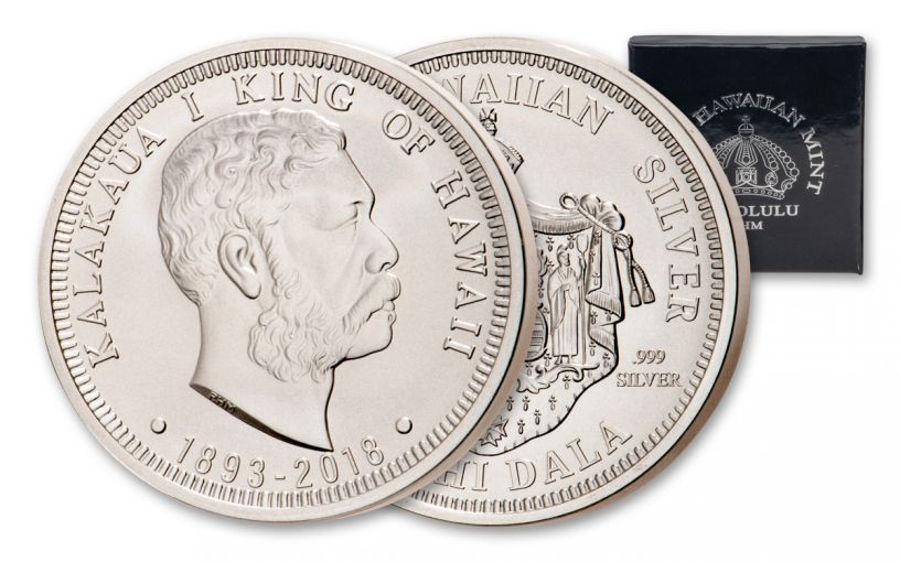 2018 Royal Hawaiian Mint 1-oz Silver King Kalakaua I BU Kingdom of Hawaii 125th Anniversary