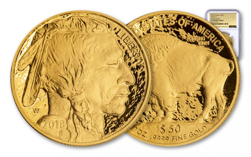 2018-W 50 Dollar 1-oz Gold Buffalo NGC PF70UCAM First Day of Issue Gold Foil Label