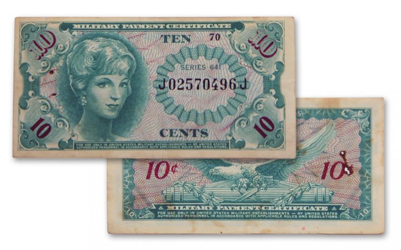 1965-1968 Vietnam Series 10-Cents 641 MPC Currency Note Circulated