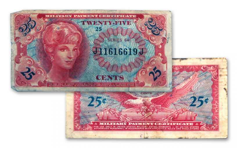 1965-1968 Vietnam Series 25-Cents 641 MPC Currency Note Circulated
