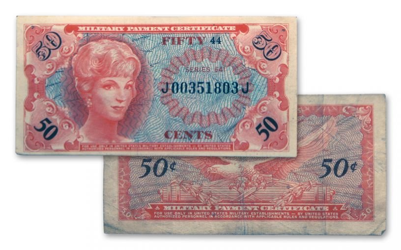 1965-1968 Vietnam Series 50-Cents 641 MPC Currency Note Circulated