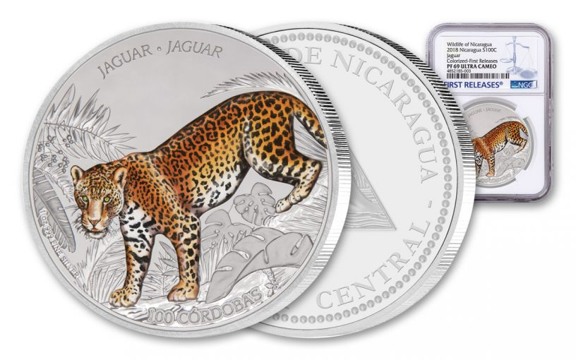 2018 Nicaragua 1 Ounce Silver Jaguar Colorized NGC PF69UC First Releases