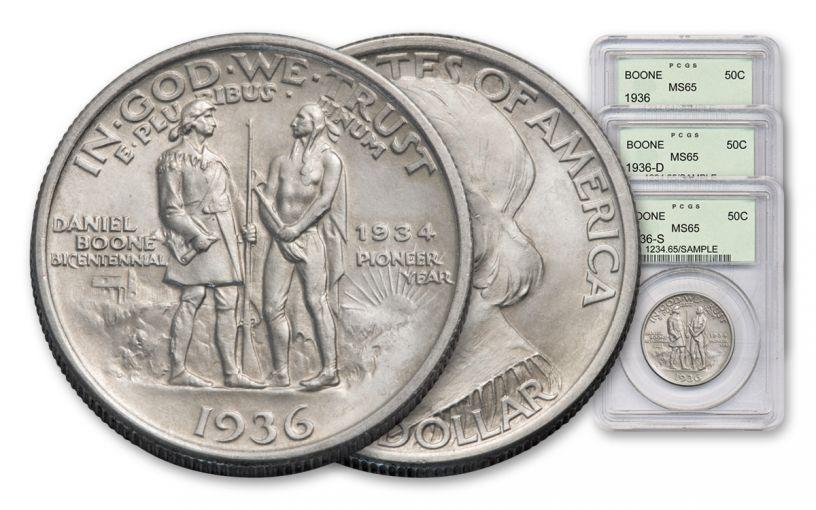 1934-1938 Daniel Boone Commemorative Half-Dollar 3-Piece Set NGC/PCGS MS65