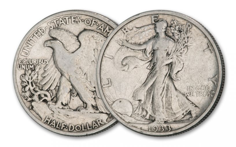 1933-S Half Dollar Walking Liberty Depression Era, Fine