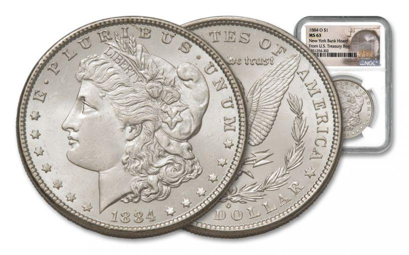 1884-O Morgan Silver Dollar New York Bank Hoard Treasury NGC MS63