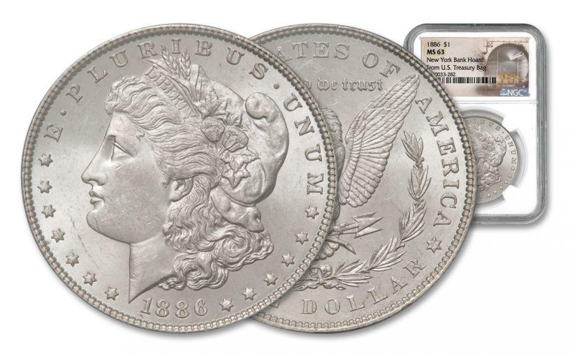 1886-P Morgan Silver Dollar New York Bank Hoard Treasury NGC MS63