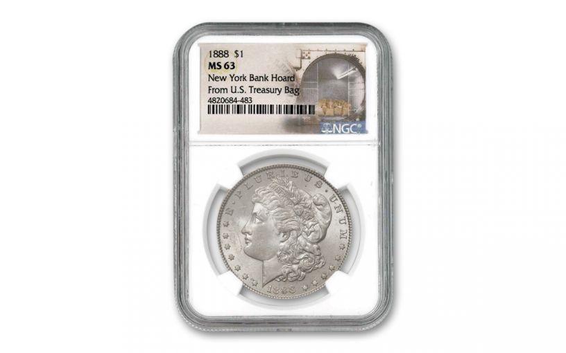 1888-P Morgan Silver Dollar New York Bank Hoard Treasury NGC MS63
