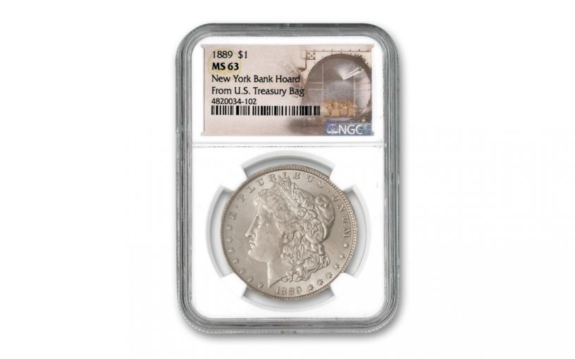 1889-P Morgan Silver Dollar New York Bank Hoard Treasury NGC MS63