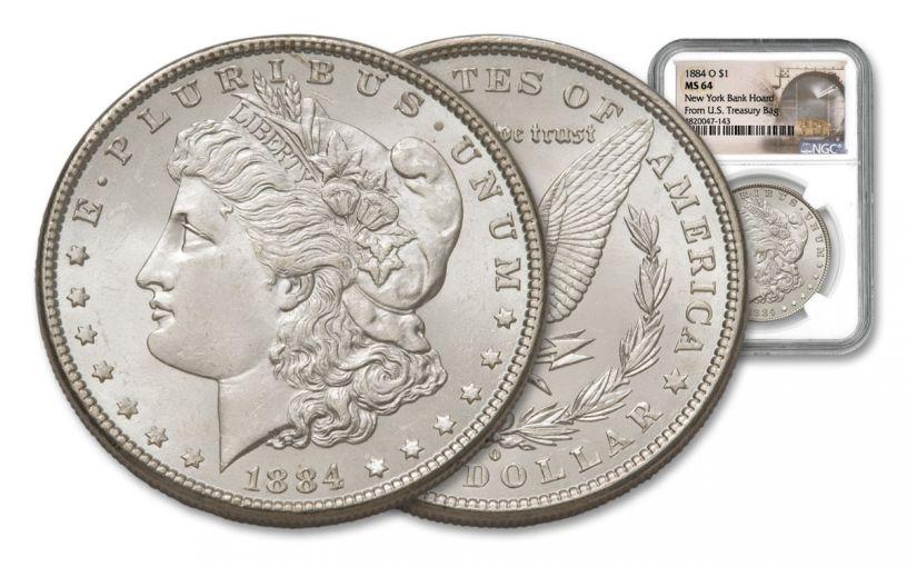 1884-O Morgan Silver Dollar New York Bank Hoard Treasure NGC MS64