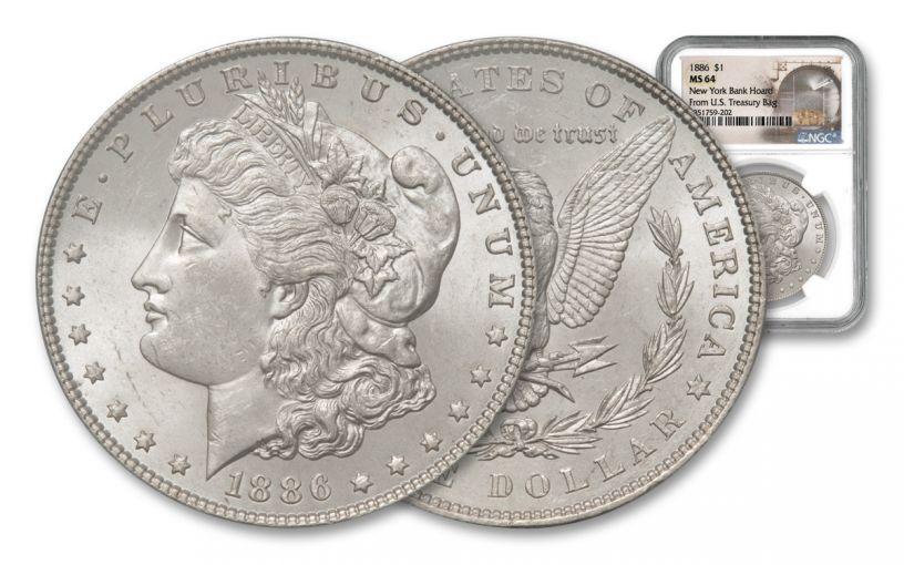 1886-P Morgan Silver Dollar New York Bank Hoard Treasury NGC MS64