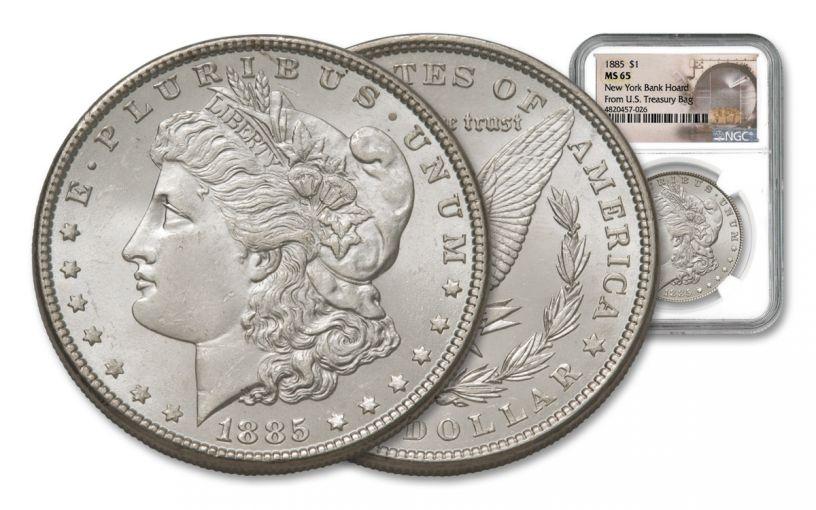 1885-P Morgan Silver Dollar New York Bank Hoard Treasury NGC MS65