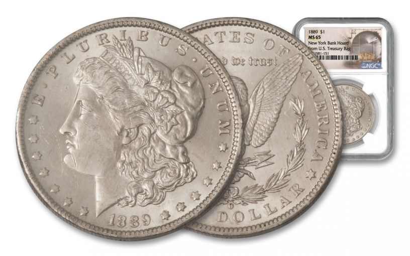 1889-P Morgan Silver Dollar New York Bank Hoard Treasury NGC MS65