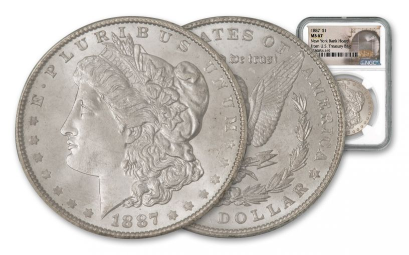 1887-P Morgan Silver Dollar New York Bank Hoard Treasury NGC MS67