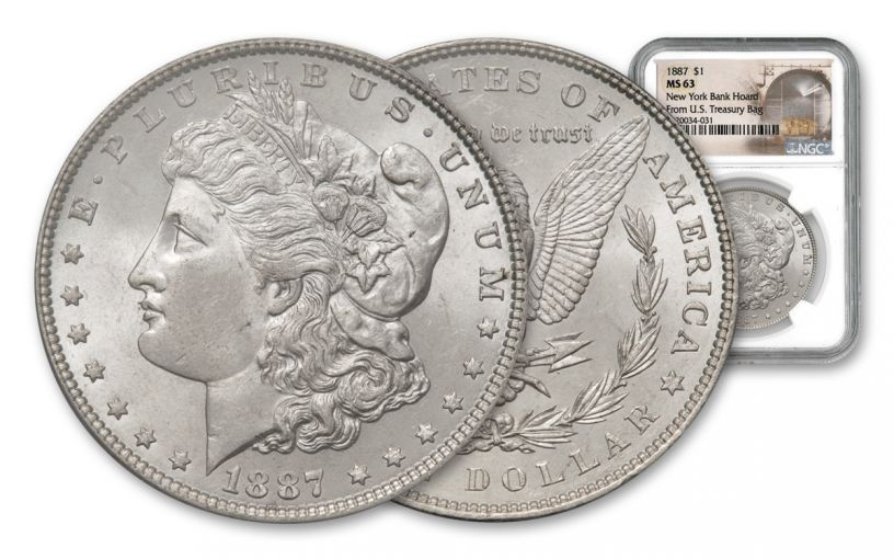 1887-P Morgan Silver Dollar New York Bank Hoard Treasury NGC MS63 20-Piece Roll
