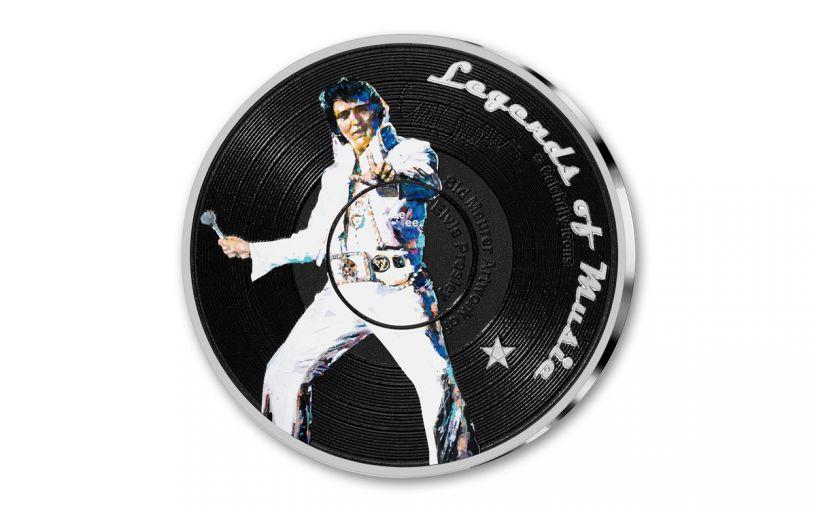 2019 Solomon Islands $5 1-oz Silver Sid Maurer's Legends of Music Elvis Presley Colorized Proof