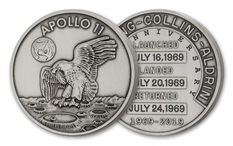 Apollo 11 Robbins Medal 1-oz Silver with Space Flown Alloy Antiqued Matte Proof Uncirculated - 50th Anniversary Commemorative