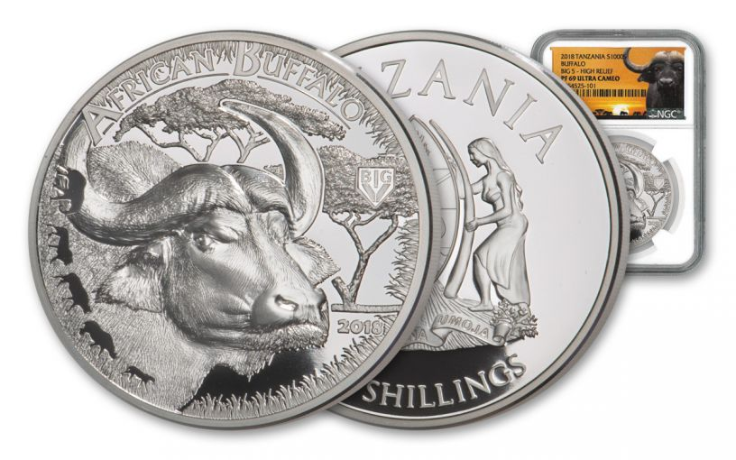 2018 Tanzania 1-Ounce Silver Buffalo Serengeti Big 5 NGC PF69UC - Serengeti Label