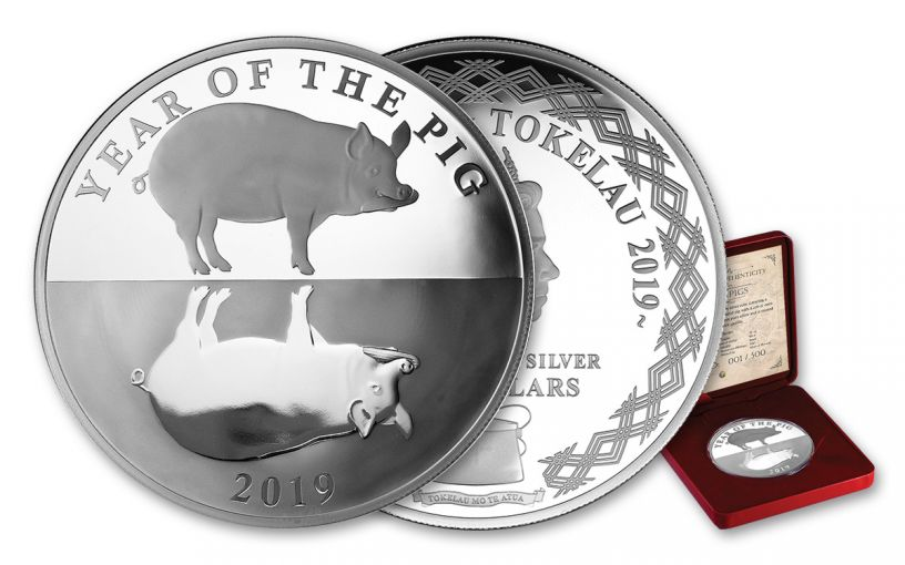 2019 Tokelau $5 1-oz Silver Year of the Pig Mirror Proof