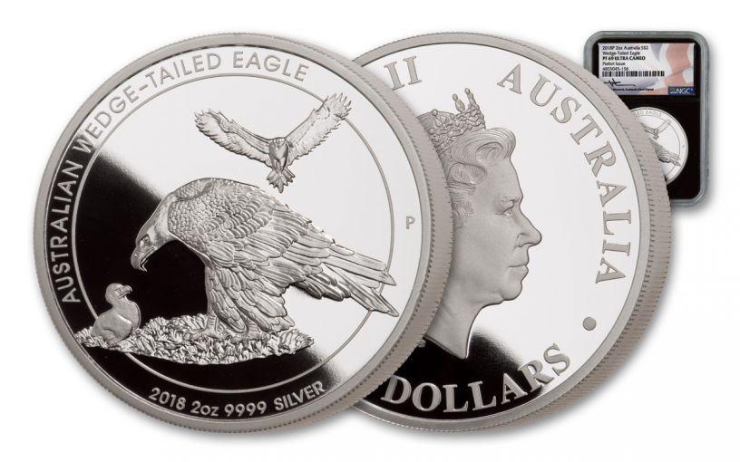 2018 Australia $2 2-oz Silver Wedge Tailed Eagle Piedfort NGC PF69UC - Black Core, Mercanti Signed Label