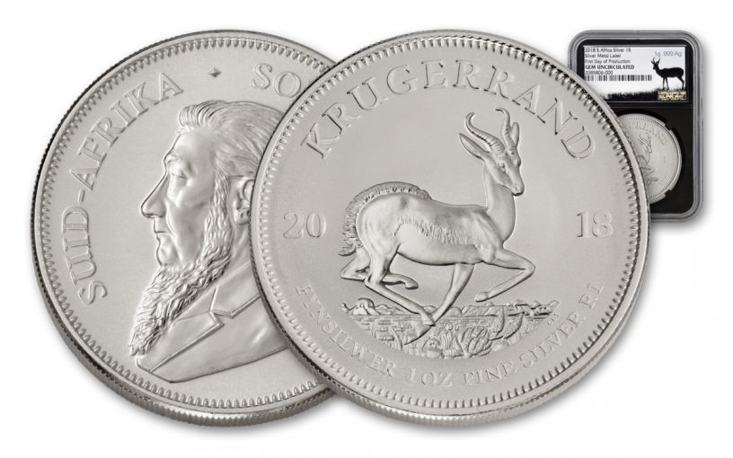 2018 South Africa 1-oz Silver Krugerrand NGC Gem Unc First Day of Production - Precious Metal Label