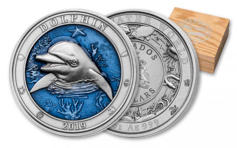 2019 Barbados $5 3-oz Silver Dolphin Ultra High Relief Antique