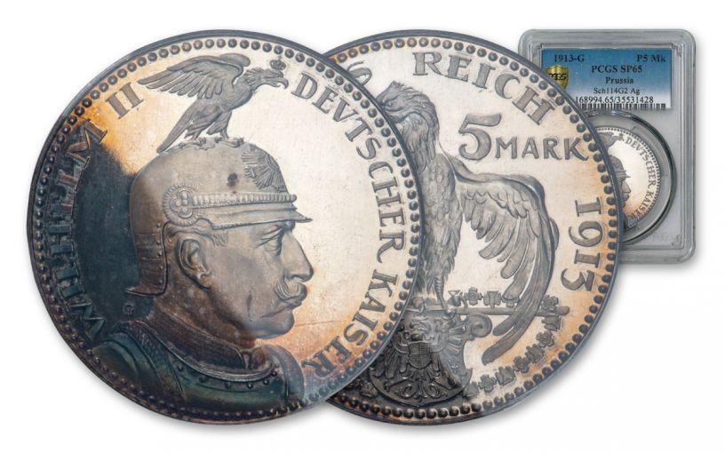 1913 Prussia 5 Mark Pattern PCGS SP65