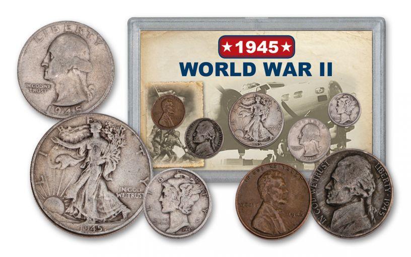 1945 1 Cent – 50 Cents World War II 5-Piece Set VG