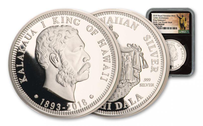 2018 Royal Hawaiian Mint 1-oz Silver King Kalakaua I NGC Gem Proof Kingdom of Hawaii 125th Anniversary, Black Core