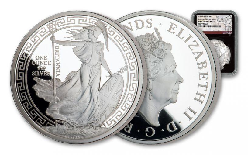 2018 Great Britain £2 1-oz Silver Oriental Britannia NGC PF69UC