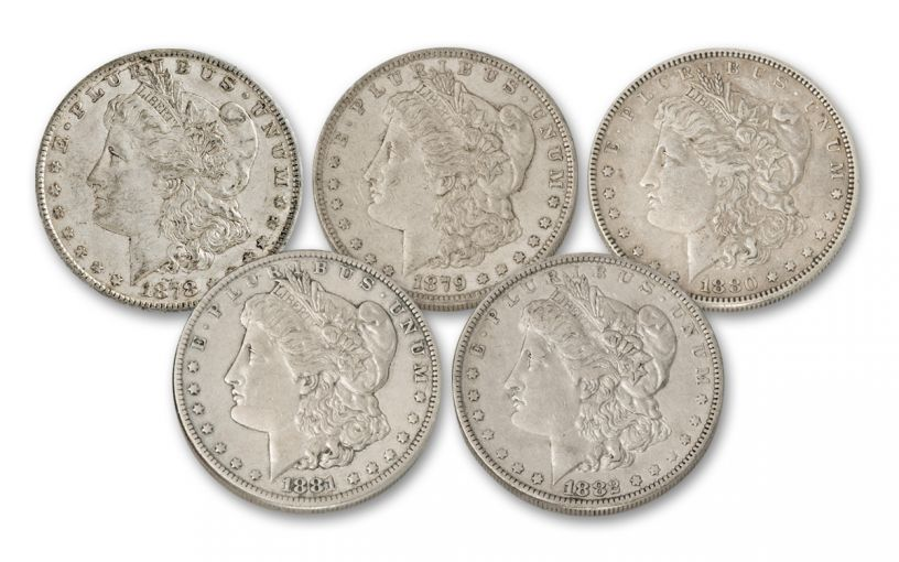 1878–1882 Morgan Silver Dollar 5-Piece Set XF