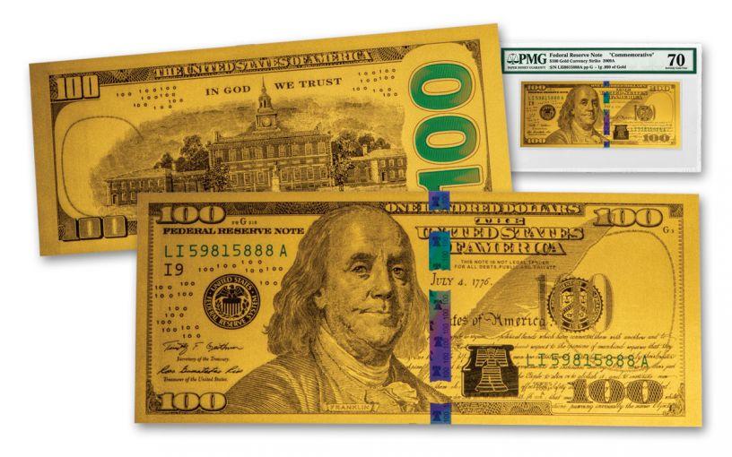 $100 1-Gram 24-Karat Gold Benjamin Franklin Replica Currency Note PMG 70