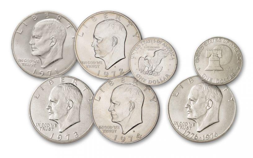 1971-1976-S Eisenhower Silver Dollar 5-Piece BU Collection Set