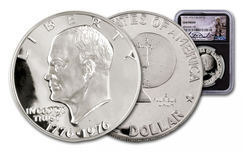 1976-S Eisenhower Silver Dollar NGC Gem Proof Charlie Duke Signed Label, Black Core