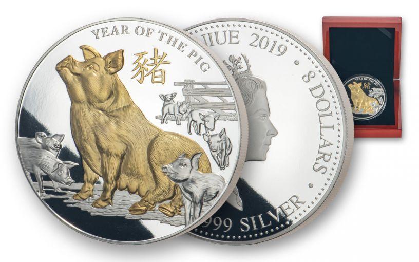 2019 Niue $8 5-oz Silver Lunar Pig Proof w/Gold Plating