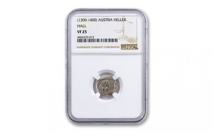 1300-1400 Austria Heller Silver Right Hand of God NGC VF20-35