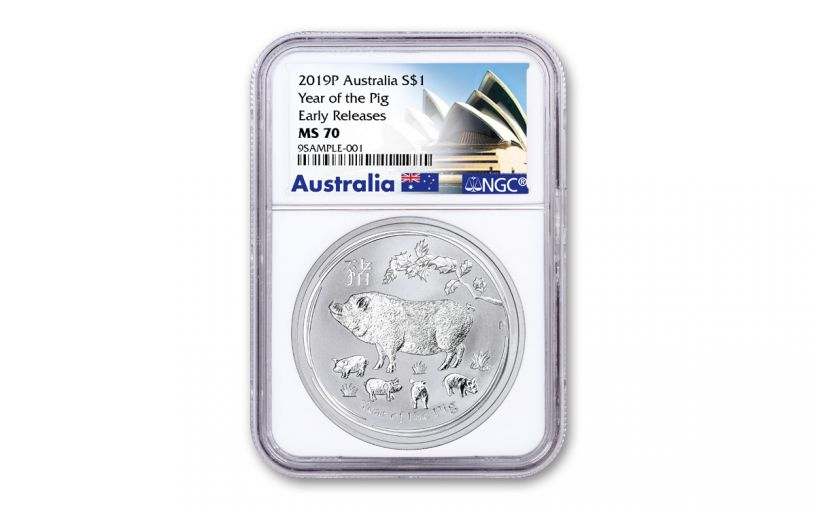 2019 Australia $1 1-oz Silver Year of the Pig NGC MS70 Early Releases w/Opera House Label