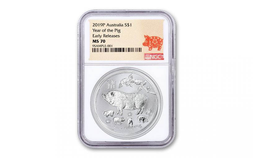 2019 Australia $1 1-oz Silver Year of the Pig NGC MS70 Early Releases w/Lunar Label